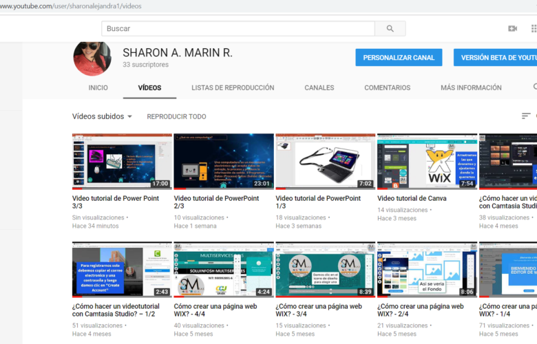 Canal de YouTube con recursos educativos de la Mtra. Sharon Marín en Colombia